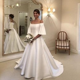 fall off shoulder shirts UK - Modest Satin Ball Gown Wedding Dresses Off The Shoulder Half Sleeves Zipper Back Country Bridal Gowns Court Train Customized Robe De Mairee