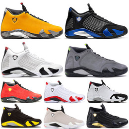 $enCountryForm.capitalKeyWord Australia - Top quality Reverse Ferr Yellow 14 SPM x Royal-Blue White Mens Basketball Shoes JODE 14s Candy Cane Red Suede Trainers Size us 7-13