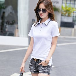 slim fit collared shirt women Canada - Summer Women Shirts Short Sleeve Fashion Turn-down Collar Button Slim Fit Casual Sport Work Breathable Sweat-absorbing Tops