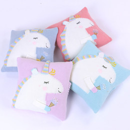 $enCountryForm.capitalKeyWord Australia - Cartoon Lovely Animal Unicorn Cushion Covers Purple Blue Cushion Cover Knitting Wool Pillow Case For Baby Kids Children Bedroom Decoration