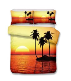 Beautiful Modern Bedding Australia - Beautiful beach scenery and Coconut tree series Bedding Set Print Duvet Cover Set Lifelike Bed Sheet,twin full queen king