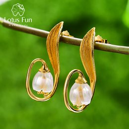 valley flowers Australia - Lotus Fun Real 925 Sterling Silver Handmade Fine Jewelry Natural Crystal Lily Of The Valley Flower Dangle Earrings For Women MX190726