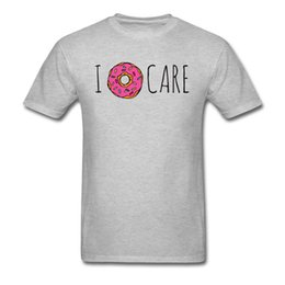 Wholesale short sleeve personalized t online – design Personalized Tshirt I Doughnut Care T Shirt Funny Men T Shirt Hot Sale Cotton Tops Tees Grey Clothes Boyfriend Gift Cute