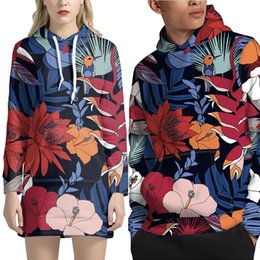 men dress hats 2020 - FORUDESIGNS New Men Women Hoodies Flower Pattern Couple Wear Long sleeve Pullover With hat Sweatshirt dress For Male lad