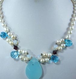 "$enCountryForm.capitalKeyWord Australia - necklace rare red zircon and opal drops pendant blue jade & white FW pearl necklace 18"""