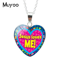 i glasses Australia - New Jesus Loves Me Heart Pendants Glass Cabochon I Jesus Love Quotes Silver Jewelry Pendant Necklaces
