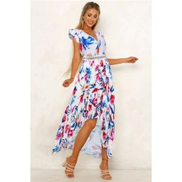 $enCountryForm.capitalKeyWord Australia - V Neck Lace Panelled Flora Printed Dresses Spring Summer Sleeveless Womens Casual Dresses Asymmetrical Female Apparel