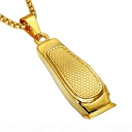 coolest chain for men NZ - Cool HIP Hop Haircut Machine Barber Necklace Gold Color 316L Stainless Steel Chain Pendants Necklaces for Men Charm Jewelry