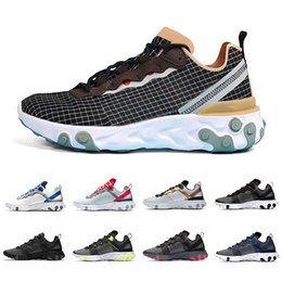 Pack Games Australia - 2019 Escape Pack Taped Seams Solar Red React Element 55 Game Royal Men Running Shoes For Women Sports Mens Trainer 55s Sneakers 36-45
