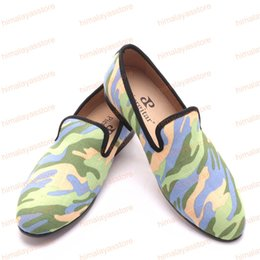 $enCountryForm.capitalKeyWord Australia - Handmade men army green and black camouflage loafers Man military style Plus size casual shoes fashion party smoking slippers