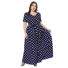 Wholesale Women Plus Size Maxi Dress XL XL XL Polka Dot O Neck Short Sleeve Big Size Ladies Dresses Belted Slim Swing Long Dress Blue