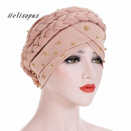 $enCountryForm.capitalKeyWord NZ - Helisopus New Arrive Women Muslim Turban Solid Color Cotton Bandanas Beaded Braid Beanie India Hats Women Hair Accessories