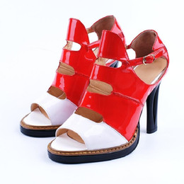 China Lucky2019 High Toe Genuine Leather Coarse Woman Hollow Out Spelling Color Belt Buckle Red White Paint Skin Sandals supplier mahogany paint suppliers