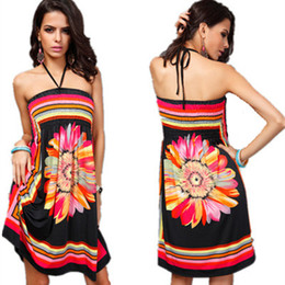 One Size Clothes Australia - Women Summer Dresses Fashion Plus Size Bohemian Dress Women Printing Halter Strapless Off Shoulder Sexy Beach Skirt Clothing One Size