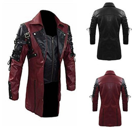 gothic collars Australia - 2019 New Leather Jacket Zipper Steampunk Gothic Men Faux Closure turn-down Collar Motorcycle Jackets Autumn Male PU Leather Coat SH190930