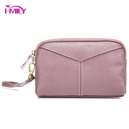 Multi Color Hand Bag Australia - HMILY Female Clutch Phone Bag Genuine Leather Day Clutch Wallet Simple Style Hand Bag Lady Cowhide Purse Daily Shopping