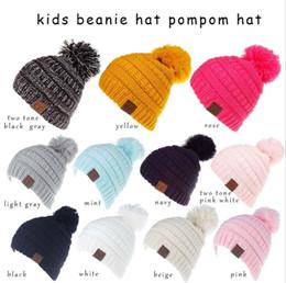 1a87b5556e6 Kids crochet Hats Fashion Unisex CC Trendy leather label Hat Knitted Caps  Kids CC Skull Beanies Children Winter Warm Slouchy Hats