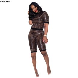 knee length tops women Canada - 2019 women new sequined short sleeve o-neck top knee length pants suit 2pcs set vintage tracksuit active wear outfit 3color Y158