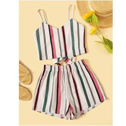 $enCountryForm.capitalKeyWord Australia - Womail Fashion Women Summer Striped Printed V-Neck Sling Sleeveless Bow Short Hot Pants Set Women Suits Casual Clothing May 27