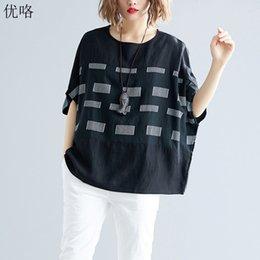$enCountryForm.capitalKeyWord Australia - Plus Size 4xl 5xl 6xl Cotton Linen Women T Shirt 2019 Summer Plaid Print Batwing Tshirt Big Size Casual Loose Tee Shirt Female J190618