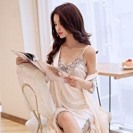 $enCountryForm.capitalKeyWord Australia - Women Sexy Lace Silk Sleepwear Home Nightgown Robe & Gown Set Sleep Two Piece Soft Female Nightdress Dress+Bathrobe