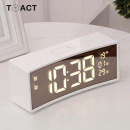$enCountryForm.capitalKeyWord NZ - Arc Touch Alarm Clock Digital LED Display Reveil Night Light Table Clocks Desk Watch Snooze Function Temperature Despertador