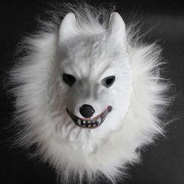 Wolf face mask online shopping - EVA Raw Animal Mask Tiger Lion Monkey Wolf Partern Full Face Cosplay Halloween Costume Realistic Fur Mane Latex Creepy New