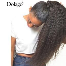 Kadınlar Için Kinky Düz At Kuyruğu Doğal Kaba Yaki Remy Saç 1 Parça Ponytails Siyah 100% Klip İnsan Saç Dolago