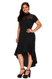 e7b2ce941bf6 Summer Dress Ruffled High Neck Work Office Dress Plus Size XXXL Black Sexy  Club Dresses Women s Large Size Hollow Out Hem Curvy Dress