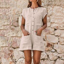 $enCountryForm.capitalKeyWord Australia - 2019 Summer Women Short Jumpsuit Solid Linen Short Sleeve Casual Romper V-neck Pocket Button Ladies Jumpsuits Playsuit