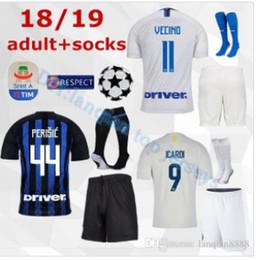 85f5ff65f 18 19 inter Milan home kits Soccer jersey CANDREVA ICARDI EDER KONDOGBIA  PERISIC 2018 full Set Socks 18 19 Maillot de foot football shirts