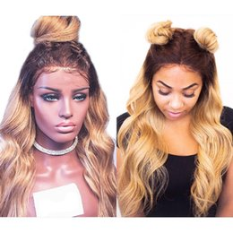 black honey blonde ombre 2019 - Natural Wave Glueless Ombre#4 27 Lace Front wavy Human Hair Wigs peruvian Ombre Honey blonde Full Lace Human Hair Wigs F