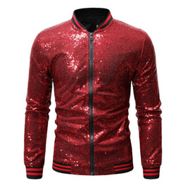 glitter clothes UK - Vogue Nice Men Shiny Sequin Jackets Gold Sequin Glitter Men Slim Fit Jackets Nightclub DJ Clothing Fashion Streetwear