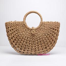 Hollow Fiber Australia - New Straw Bag Paper Rope Round Bucket Hollow Woven Bag Retro Casual Belt Buckle Handbag