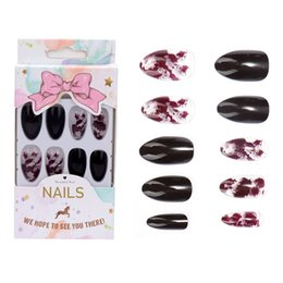 long finger nails UK - 24Pcs set Sexy Pointed Ink Finished False Nails Middle-long Lady Full Nail Tips Finger Art Bride Nail Art Decorations
