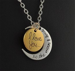 Pendant Backs Australia - Styles I Love You To The Moon and Back Necklace Valentine's day love moon letter pendant lovers necklace