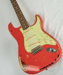 $enCountryForm.capitalKeyWord UK - Custom Shop Michael Landau Relic Electric Guitar 1963 Aged Relic Strats in Fiesta Red Vintage Guitar Parts China guitar