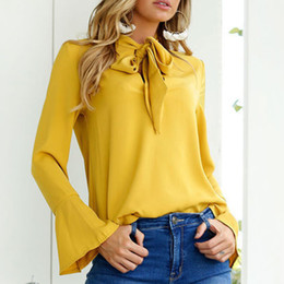 $enCountryForm.capitalKeyWord Australia - Women Spring Autumn Chiffon Blouse Fall Long Flare Sleeve Lacing Bow Loose Solid Shirt Lady Office Tops