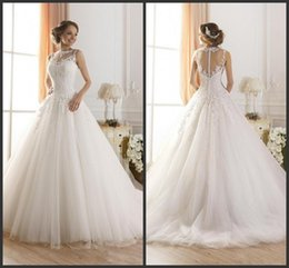 Fluffy Garden Wedding Dresses Australia - Vintage Jewel Ball Gown Plus Size Sheer Wedding Dresses 2019 New Beaded Lace Fluffy Backless Princess A-Line Bridal Gowns 1294