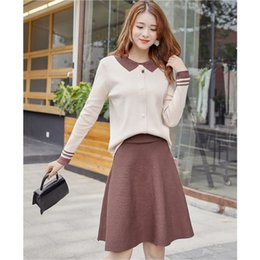 Korean top sKirts online shopping - Autumn winter Women s Knit Tops and Skirts Suits Korean turn down collar Long Sleeves Sweater Wool Skirt Suit Piece Sets
