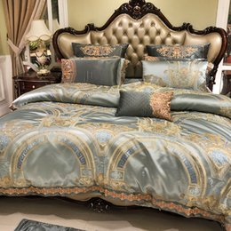 western bedding sets 2019 - Green Embroidered 120S Egyptian cotton Royal Bedding sets Stain Queen King Western Duvet cover Bed sheet set Pillowcases