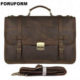 "genuine leather work business bag Canada - Vintage Men's Genuine Leather briefcase 14"" Cowhide Business bag Cow leather Laptop Double Layer messenger bag PC work tote 2342"