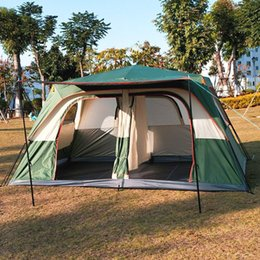 outdoors double layer camping tents NZ - 5-8persons fully automatic double layer outdoor 2living rooms camping tent in top quality large space include one support poles