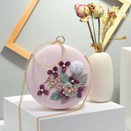 banquet flowers NZ - Evening Bag Portable Banquet Dress Clutch Bag Ladies Slung Three-Dimensional Flower Round PU Leather Dinner Bag