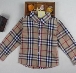 Ingrosso Camicie a maniche lunghe monopetto a manica lunga scozzese da bambino Camicie a maniche lunghe per bambini in stile inglese per bambini
