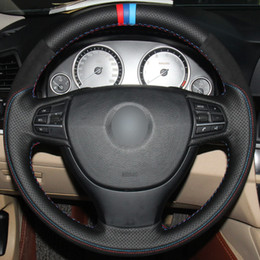$enCountryForm.capitalKeyWord Australia - Black Natural Leather Black Suede Red Blue Light Blue Marker Steering Wheel Cover for BMW F10 523Li 525Li 2009 730Li 740Li 750Li