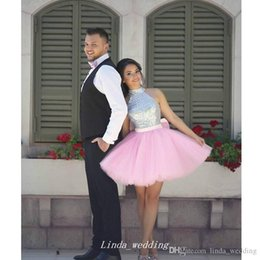 $enCountryForm.capitalKeyWord Australia - High Quality Pink And Silver Sequins Top Short Prom Dress Sexy Custom Made High Neck Sleeveless Graduation Party Dress Plus Size