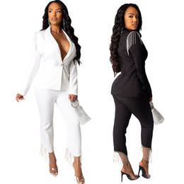 Discount hot business women office Hot Popular Sets Business Suits Women Ladies Fashion Solid Color Tassels Button Formal Office Women Set Supplier