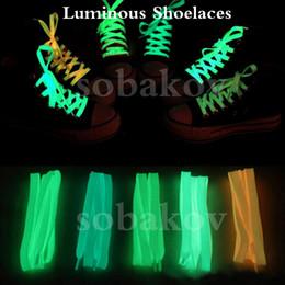 Wholesales Shoelace Charms Australia - Luminous Neon Shoelace Sport Men Women Shoe Laces Glow In The Dark Fluorescent Shoeslace for Sneakers Canvas Shoes size100cm