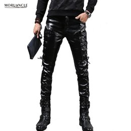 leather trousers bootcut Australia - MORUANCLE New Winter Mens Skinny Biker Leather Pants Fashion Faux Leather Motorcycle Trousers For Male Stage Club